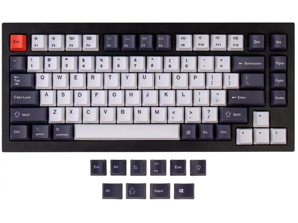 USA Keychron Q1 & K2 OEM Dye-Sub PBT Keycap Set Bluish Black And White