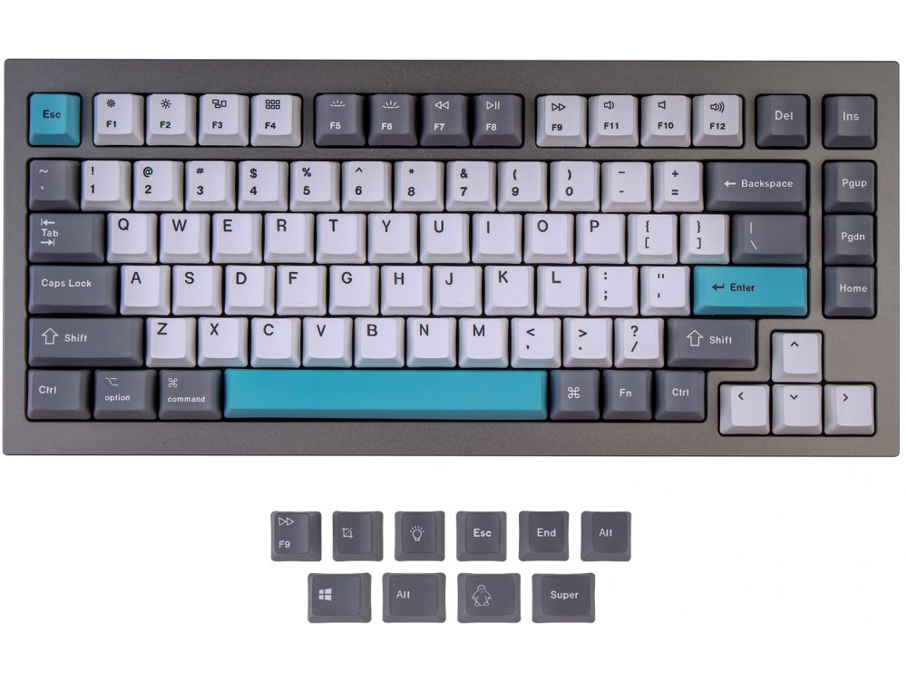 USA Keychron Q1 & K2 OEM Dye-Sub PBT Keycap Set Grey White Blue