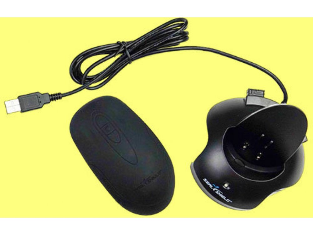 Silver Seal Wireless Optical Rechargeable Mouse Black Antimicrobial