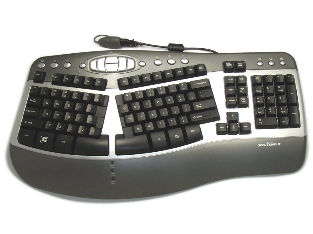 SILVER WAVE Ergonomic USA Keyboard Antimicrobial and Machine Washable