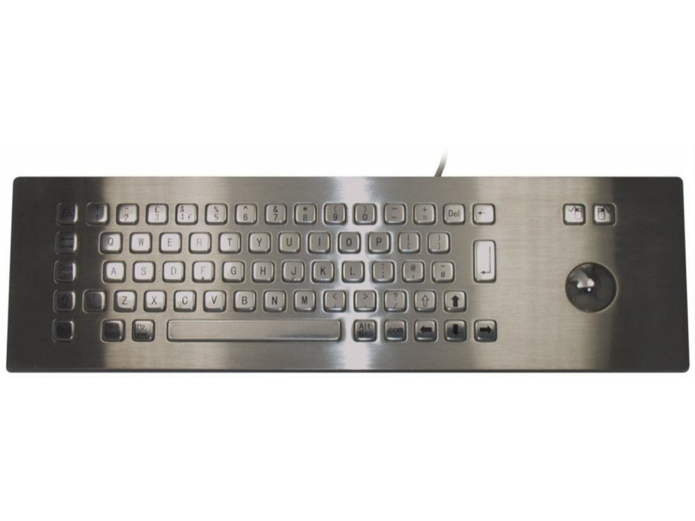 Stainless Steel IP65 Panel Mount Industrial Trackball Keyboard - Over Panel