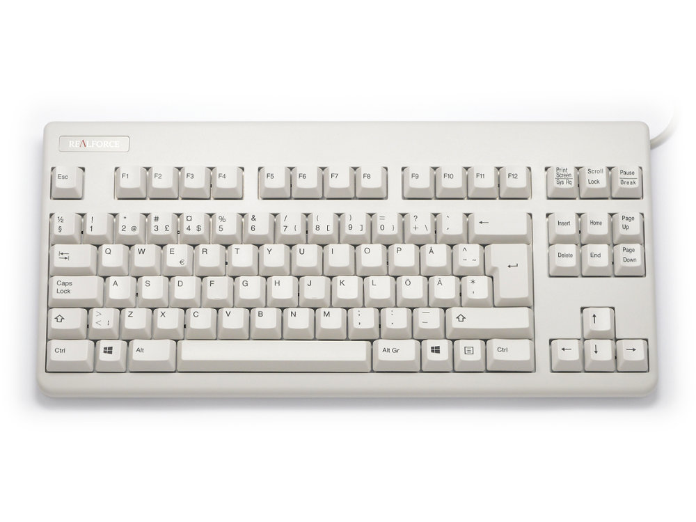 Swedish Topre Realforce 88U 45g Black on Beige Tenkeyless Keyboard