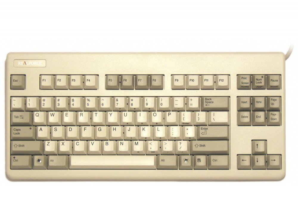 USA Topre Realforce 87UW 55g Black on Beige Tenkeyless Keyboard