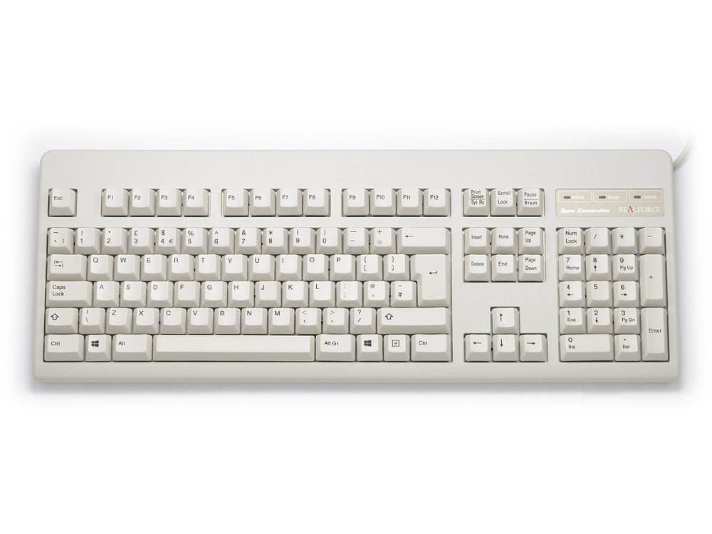 UK Topre Realforce 105U 45g Black on Beige Keyboard