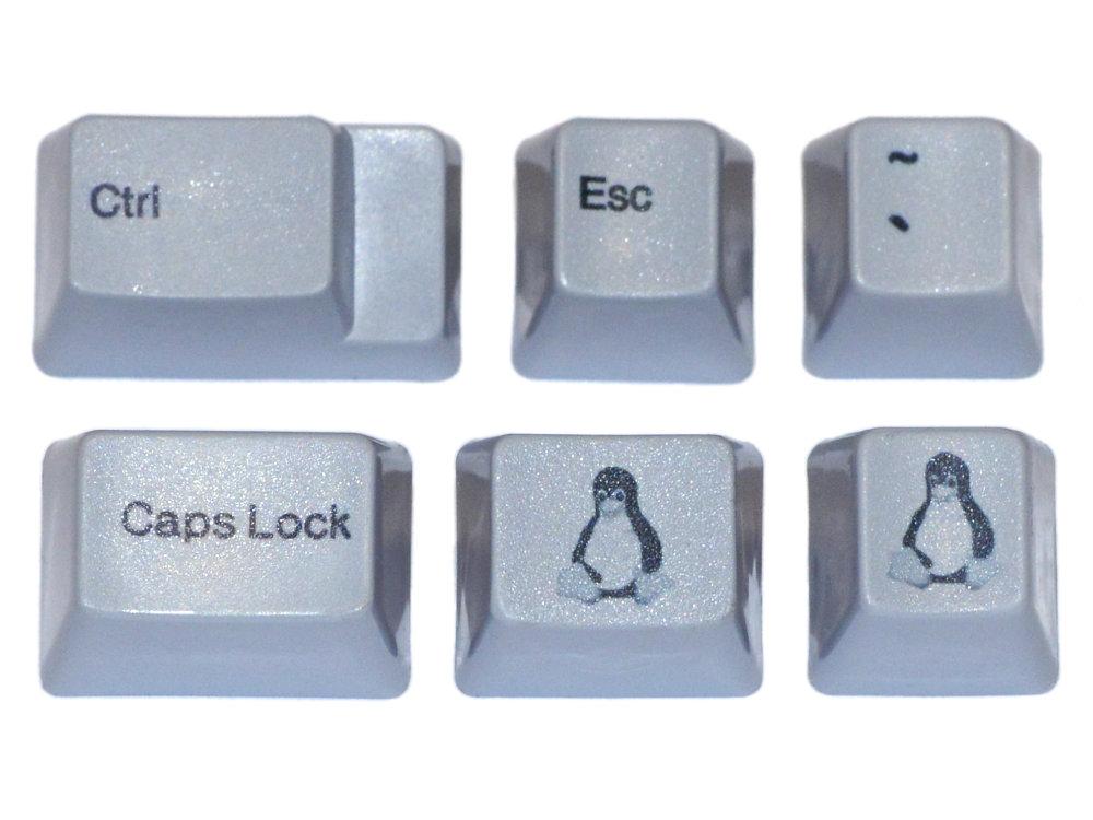 Unicomp Gray Linux Tux Keyset