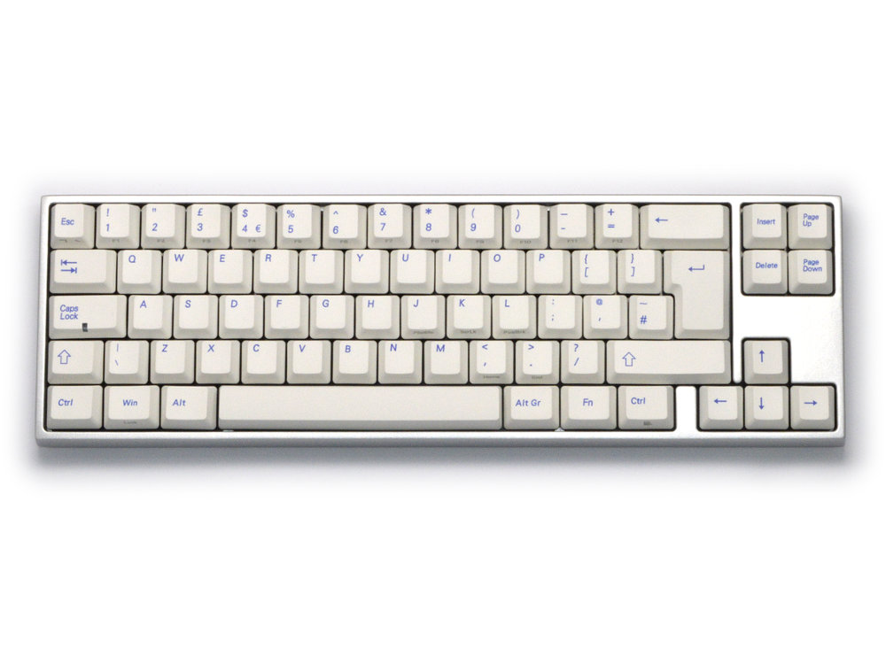 UK VA69M PBT Ice Blue Backlit Aluminum Alloy Milk White Click Action Keyboard, picture 1