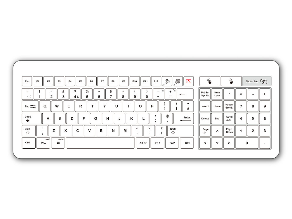 Medical Glass Easy Clean Touchpad Keyboard