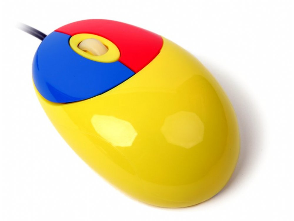 Mini Multi-Coloured Optical Scroll Mouse, Yellow